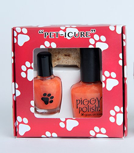 Peticure Nail Polish Kit for Pets, Bright Orange, Nail Polish + Mini Bottle + Remover, Healthy Ingredients.5 oz bottle + 2 oz - Dog Polish Remover Nail