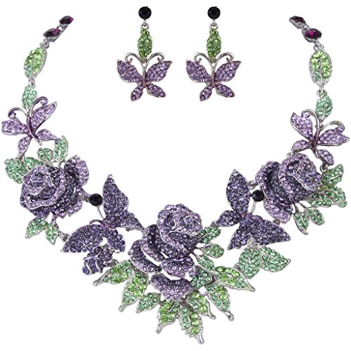 (EVER FAITH Austrian Crystal Enamel Butterfly Rose Flower Leaf Necklace Earrings Set Purple Silver-Tone)