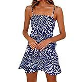 Womens Boho Floral Print Sleeveless Sling Mini Dress Casual Ruffles Bowknot Cocktail Party Dresses Beach Sundress Blue