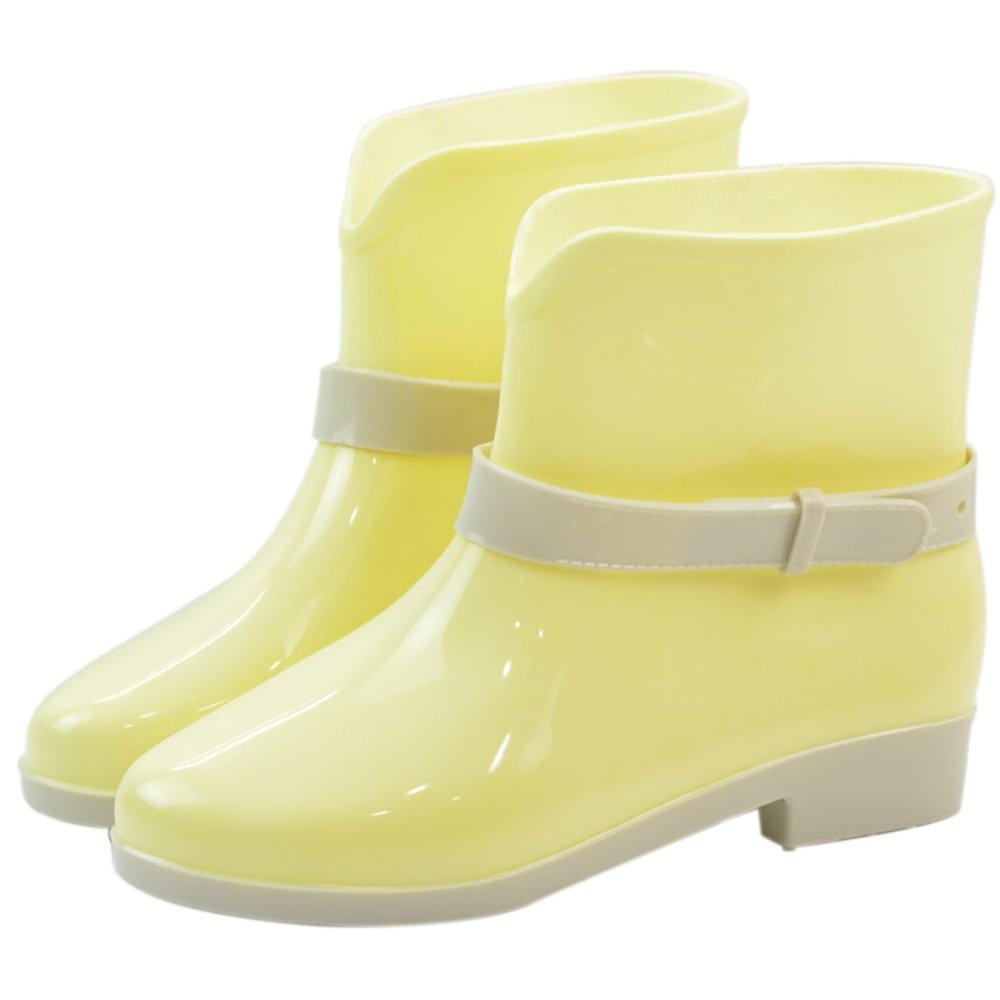 Women's Waterproof Rubber Jelly Anti-Slip Rain Boot Buckle Ankle High Rain Shoes B01J7EXYNO 8 B(M) US|Yellow