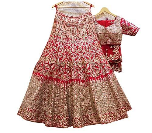 Red lehenga choli for women party wear wedding bridal lengha sari trendy culture 0085