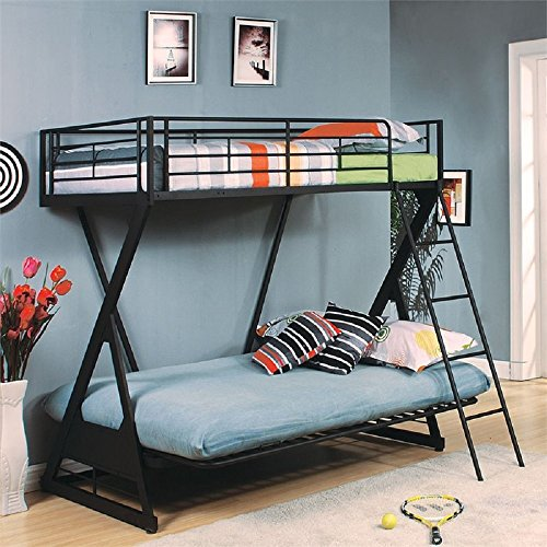 Major-Q Modern Sandy Black Finish Metal Twin Over Full/Futon Bunk Bed with Ladder & Guard Rail ()