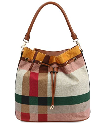 Plaid Diophy New Zip Drawstring w Bucket amp; Linen Strap Green top Hobo 57ddwq1