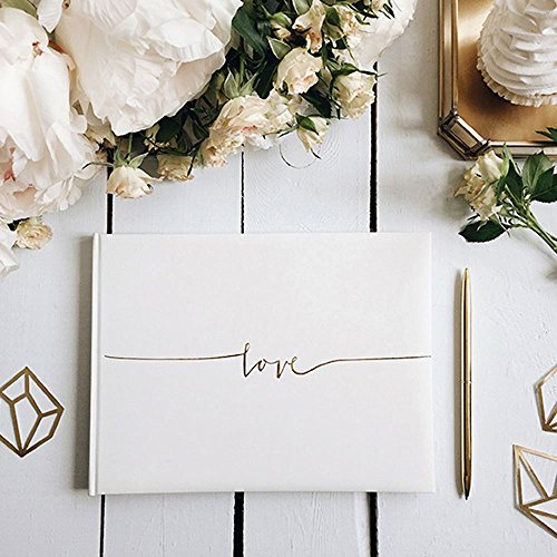 Off White Wedding Guest Book- Love in gold letters 24 x 18.5cm by Luck