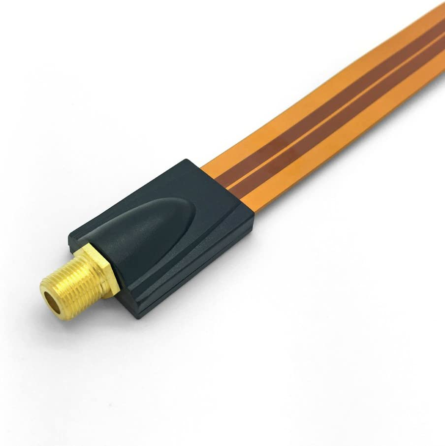 HD Fensterdurchf/ührung Sat Kabel Flachkabel Ultra Slim 2 x F Stecker 2x Gummit/ülle vergoldet Koaxialkabel Flachkabel extrem flach 4K TV ARLI