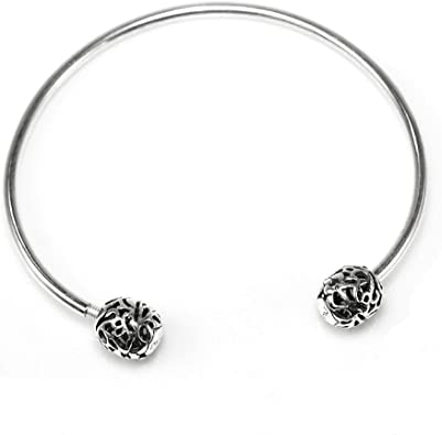 Sterling Silver Bracelet Signature Clasp Bangle fit Beads Charms Open Bangle