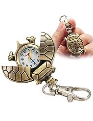Fashion Cute Turtle Keychain Pocket Chain Clip Watch for Women Men Children