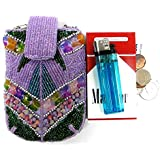 One of the Kind Hand Made Women's Beaded Cigarette Case Pouch Fit 100's Hard or Soft Pack Great Gift Color - LAVENDER
