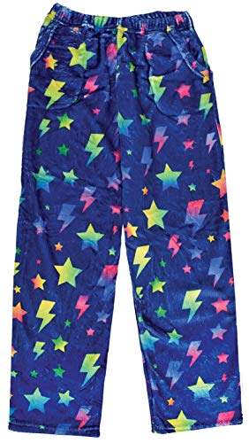 - iscream Big Girls Fun Print Silky Soft Plush Pants - Electric Rainbow, Medium (10/12)