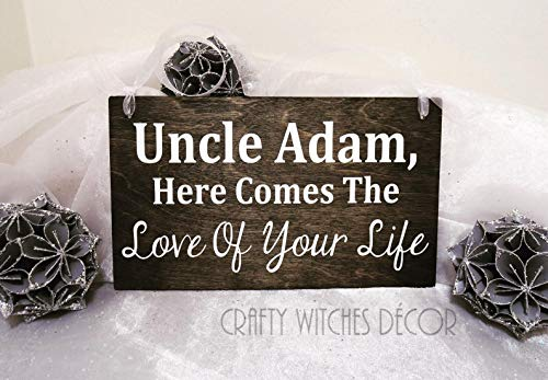 Personalized Here Comes The Love Of Your Life Wedding Wood Sign, Wedding Signs, Ring Bearer, Ring Bearer Sign, Flower Girl Sign, Uncle Sign