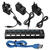 SENREAL 7 Port USB 3.0 Hub On/Off Switch+EU/US/UK AC Power Adapter