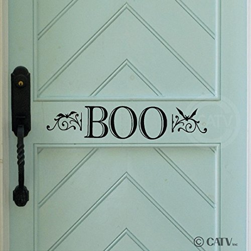 Spooky Scroll - Boo with Scrolls and Bats Vinyl Lettering Decal Sticker (4.5