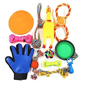 Puppy Dog Toys Set 12Pcs Pet Interactive Dog Toy Starter Set Includes Indoor Outdoor Frisbee Tug Cotton Rope Ball Chew Rubber Training Puppies Teething Play Basket Treat Fur Grooming Glove Portable Travel Bowl Feeder