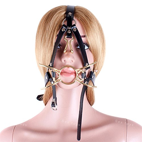 Metal Spider Ring Gag with Head Slave Harness Nose Hook Flirting Mouth Gags