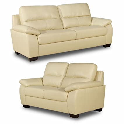 Knightsbridge 3+2 Seater Cream Leather Sofas Suite: Amazon ...