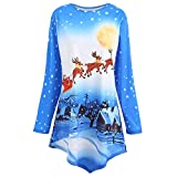 Chaofanjiancai_Blouse Women's Long Sleeve Christmas Print Crewneck Hem Irregular Casual Pullover Tops