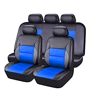 car pass 11 pieces leather universal car seat covers set black and blue automotive. Black Bedroom Furniture Sets. Home Design Ideas