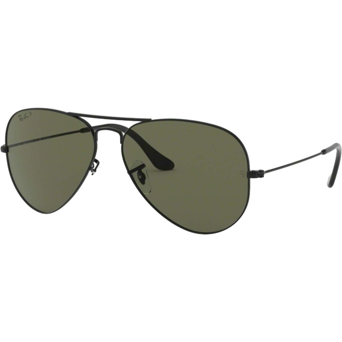 Ray-Ban RB3025 Aviator Large Metal Sunglasses,58mm,Matte Black/Polar Green by Ray-Ban