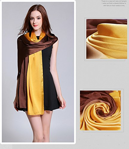 K-ELeven Silk Scarf Gradient Colors Scarves Long Lightweight Sunscreen Shawls for Women SK073-D