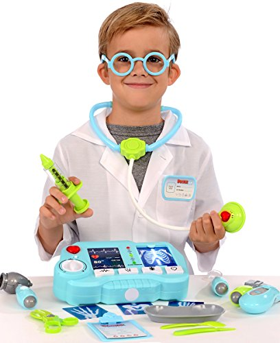 [Kangaroo's 19 Pc Pretend Doctor Kit with Light Up X-Ray Machine] (Doctor Costumes For Toddlers)