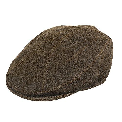 Soho Antique Genuine Leather Newsboy Ivy Cap BROWN 7 1/4