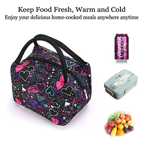 Sumnacon Insulated Lunch Bag, Reusable Portable Leakproof Lunch Box Tote Cooler Bag for Men Women Girls Kids for Work,School,Picnic(Heart Pattern) by Sumnacon (Image #4)