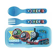 Zak! Thomas The Tank Engiene Flatware Set for Kids Toddlers (3 Pc: Spoon, Fork, Travel Case)