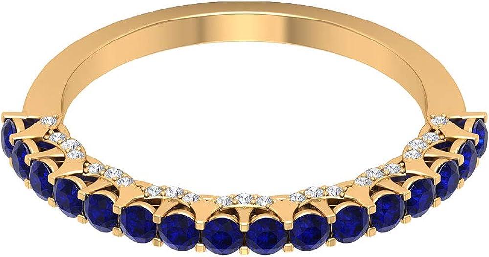 Anillo de media eternidad de zafiro azul certificado de 0,80 ct, anillo de promesa de diamantes antiguos de 0,16 ct, 18K Oro
