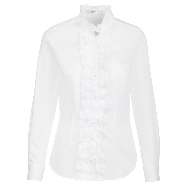 Michaelax-Fashion-Trade Women's Plain Tab Collar Long Sleeve Blouse