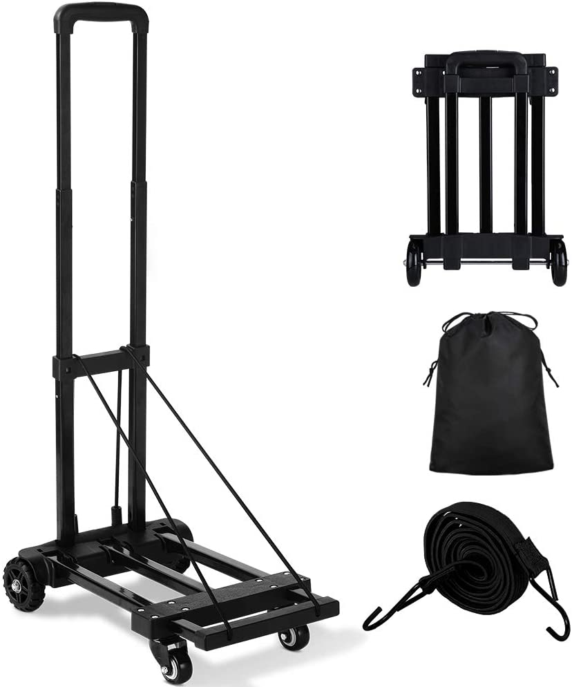 Orange Tech Folding Hand Truck, 155 lbs, Upgraded 4 Tank Wheels Heavy Duty Luggage Cart, Portable folding dolly cart,Compact and Lightweight for Luggage, Personal, Travel, Moving and Office Use