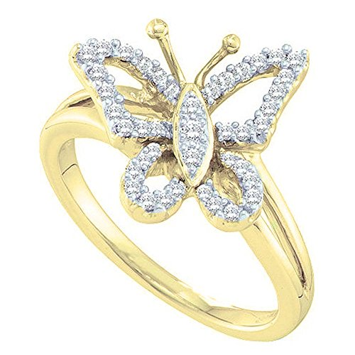 Dazzlingrock Collection 0.20 Carat (ctw) 14K Round Diamond Cocktail Right Hand Butterfly Ring 1/5 CT, Yellow Gold, Size ()