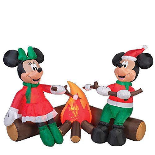 CHRISTMAS INFLATABLE DISNEYS MICKEY AND MINNIE MOUSE ROASTING MARSHMELLOWS BY THE CAMPFIRE