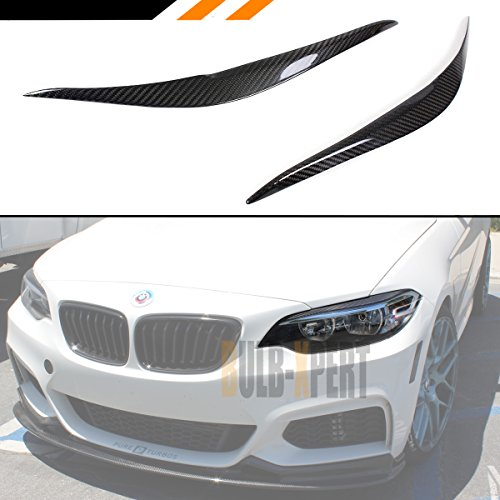 Cuztom Tuning Fits for 2014-2018 BMW 2 Series F22 M235i M2 Luxury Carbon Fiber Headlight Eyelid Eye Lid Cover Eyebrows - Pair