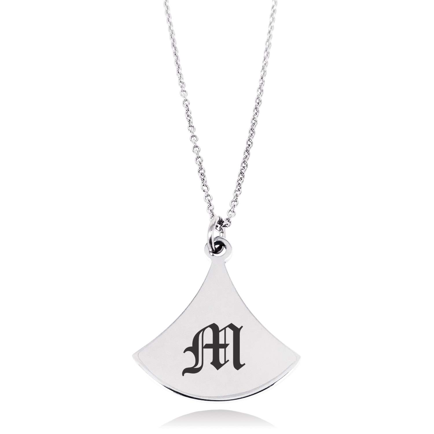 Stainless Steel Letter M Initial Old English Monogram Pendulum Curved Triangle Charm Pendant Necklace
