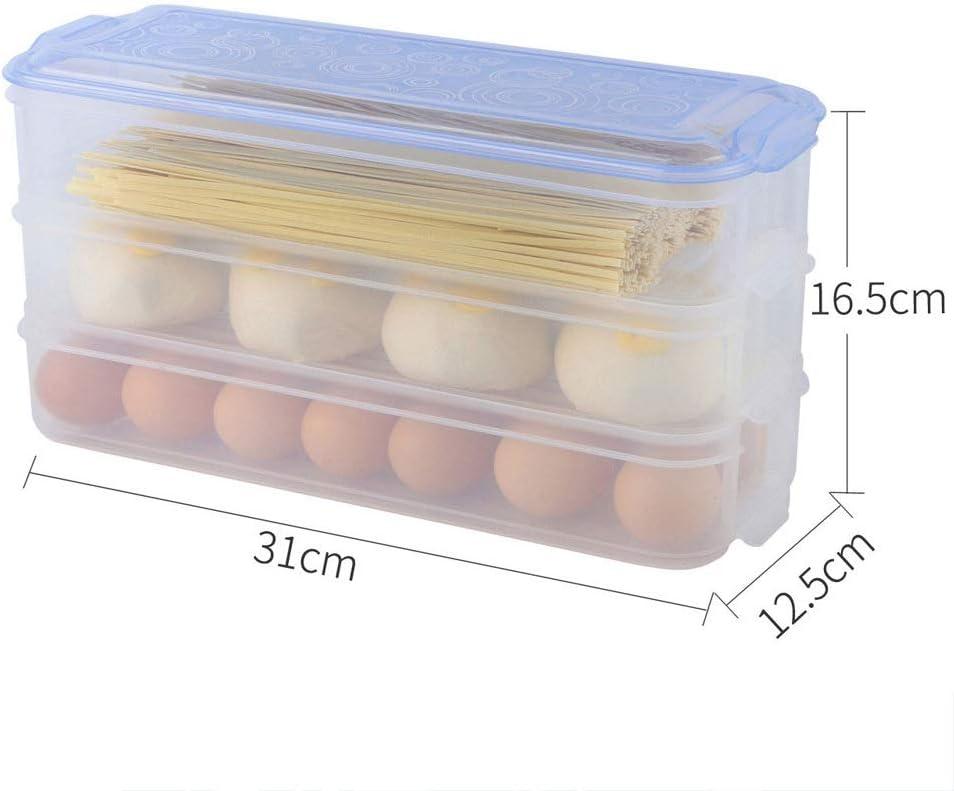 Hecha PP Tres Capas se p etc Stoge Caja de Almacenamiento y conservaci/ón del refrigerador Multifuncional Adecuado para almacenar Huevos Frutas y Verduras Fideos de Cocina