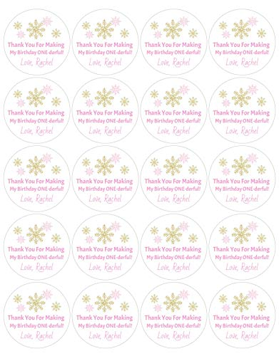 Pink and Gold ONEderland Birthday Stickers Set of 20