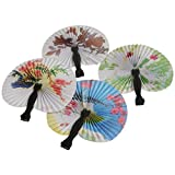 Lot Of 12 Traditional Japanese Assorted Style Mini Asian Inspired Design Paper Folding Fans