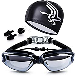 Swim Goggles + Swim Cap + Case + Nose Clip + Ear Plugs,Dsoso Clear Swimming Goggles Coated Lens No Leaking Anti Fog UV Protection for Adult Men Women Youth Kids Child,Black