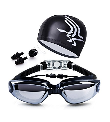 Swim Goggles + Swim Cap + Case + Nose Clip + Ear Plugs,Dsoso Clear Swimming Goggles Coated Lens No Leaking Anti Fog UV Protection for Adult Men Women Youth Kids - Swimming Glass