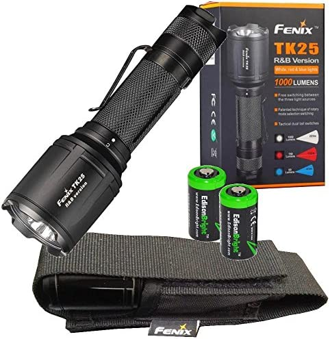 EdisonBright Fenix TK25 R B Red Blue White 1000 Lumen Multi-Color LED Tactical Hunting Flashlight with 2 X CR123A Batteries