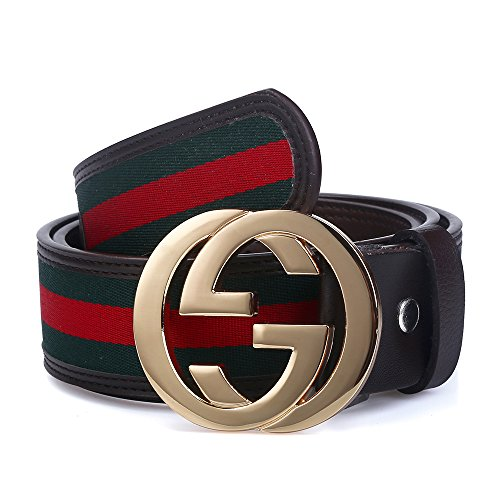 Godisdesign Men's Big G Buckle 38-mm Classic Green / Red / Green Leather Belt (105cm/41.3inch (34-36), Gold Buckle)