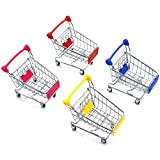 AQUEENLY Mini Shopping Cart, 4 Pieces Kids Supermarket Handcart for Kids Shopping Utility Cart Mode Storage Toy, 4 Colors