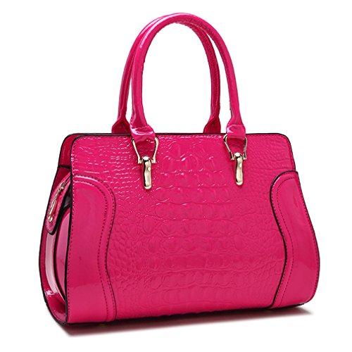 kaoling Bolsos Cuero Las Mujeres Bolsos cocodrilo Bolso Cuero Las señoras Bolsos Boda Rojos Las señoras Red Hot Pink