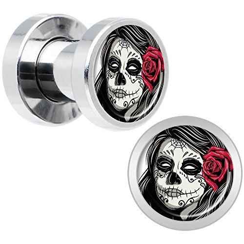 Body Candy Stainless Steel Katrina Sugar Skull with Rose Screw Fit Plug Set of 2 4 Gauge