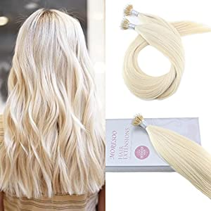 Moresoo 22inch Micro Nano Loop Ring Human Hair Extensions Platinum Blonde Color #60 40g 50 Strands 0.8g/strand Pre Bonded Keratin 100% Human Hair Extensions