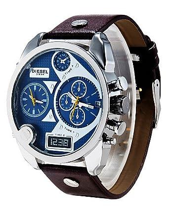 Resistente al agua reloj de los hombres del cuarzo del reloj diesel reloj de pulsera reloj de pulsera reloj de cuero genuino de calendario montreaux relogio ...