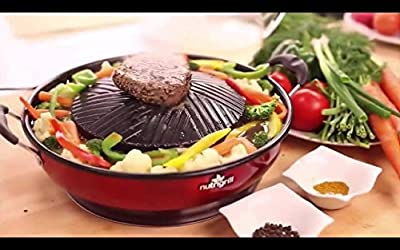 NutriGrill Organic Fast and Healthy Grills Electric Professional BBQ Cooker Grill Pan for Fresh Outdoor or Indoor Grilling with a Great Barbecue Taste Cooks Meat and Vegetables Together
