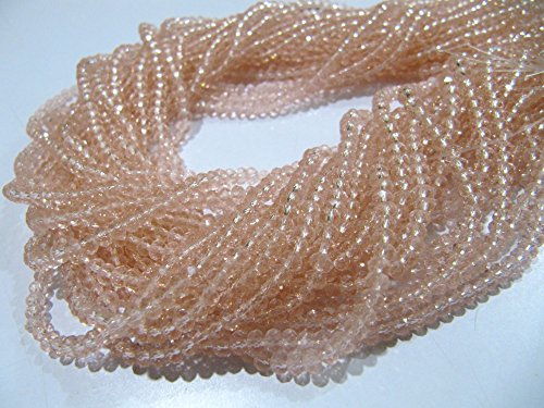 AAA Quality Pink Quartz Rondelle Faceted Beads/ 3-4mm Size Beads/ 150 Beads Approx per Strings/Micro Faceted Hydro Quartz Pink Color ()