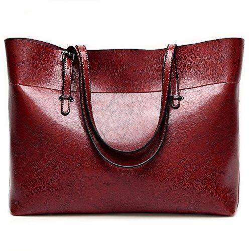 Leather Tote Bag for Women, Large Commute Handbag Shoulder Bag Zipper Women's Work Satchel Bag (wine red)