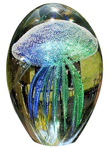 vidrio soplado a mano medusas pisapapeles, brilla en la oscuridad, verde y azul (11.4cm) por Sunrise vidrio